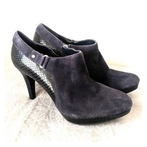 Dark Blue Suede High Heeled Ankle Boots